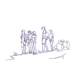 Sketch group of travelers people with backpacks vector