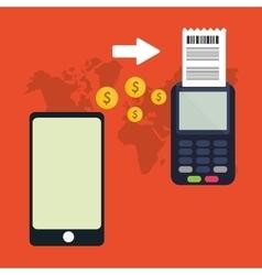 smartphone dataphone payment global vector image