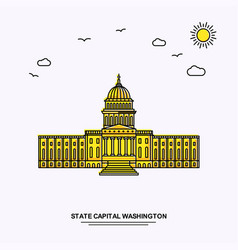 State capital washington monument poster template vector