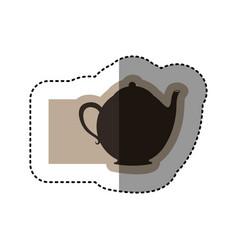 sticker monochrome emblem with teapot of tea vector image