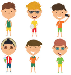 Summer male characters vector