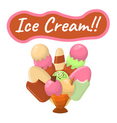 summer sundae logo and label for ice cream shop vector image