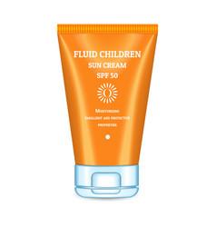 Sunscreen cream tube icon realistic style vector