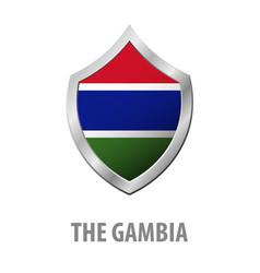 the gambia flag on metal shiny shield vector image