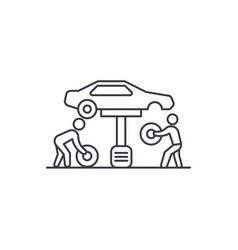 tires replacement line icon sign vector image