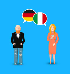 Two people with white speech bubbles with germany vector