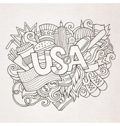 USA hand lettering and doodles elements background vector image