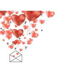 valentines 3d hearts with envelope postcard vector image