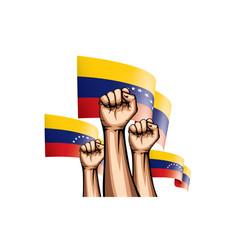 Venezuela flag and hand on white background vector