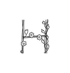 Vintage floral bold letter h logo spring classic vector