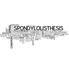 What is spondylolisthesis and do you have it text vector