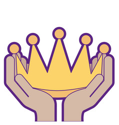 Winner hands with crown isolated icon vector