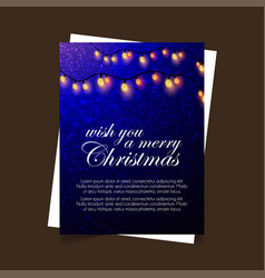 wish you a merry christmas blue lighting vector image