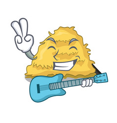 With guitar hay bale mascot cartoon vector