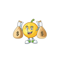 With money bag mundu fruit mascot on white vector