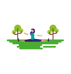 woman practicing exercise outdoors landscape vector image
