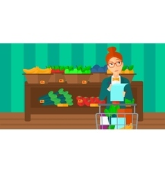 Woman with shopping list vector image
