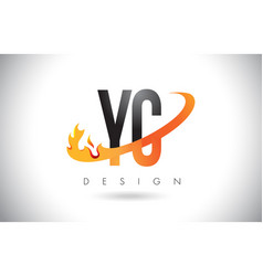 yc y c letter logo with fire flames design and vector image