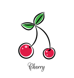 cherry line doodle icon vector image vector image
