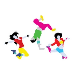 Happy Dancing Silhouettes vector image