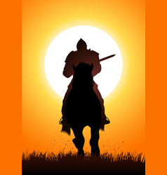 medieval knight on horse carrying a lance vector image