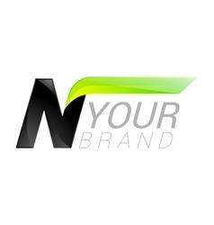 N letter black and green logo design Fast speed vector image