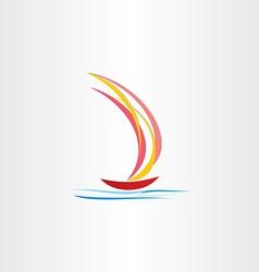 Boat sailing on sea abstract design vector