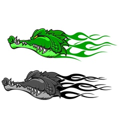 crocodile tattoo with tribal flames vector image vector image