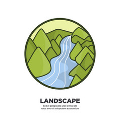 landscape scenery design river flowing along green vector image