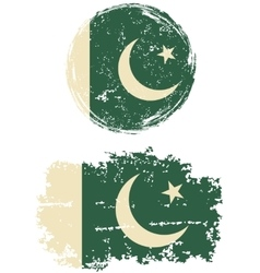 Pakistani round and square grunge flags vector image vector image