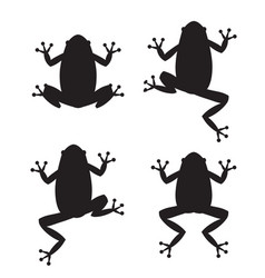 set of frog silhouettes on white background vector image vector image