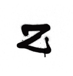 sprayed z font graffiti with leak in black vector image vector image