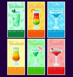 alcoholic cocktails banners set summer drinks vector image vector image