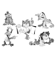 Cartoon monkey in 5 different poses vector image vector image