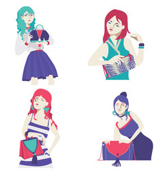 fashion collection with bright flat girls vector image vector image