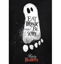 Ghosts halloween poster chalk vector