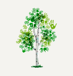green hand print tree symbol for environment care vector image