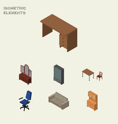 Isometric furnishing set of office couch chair vector