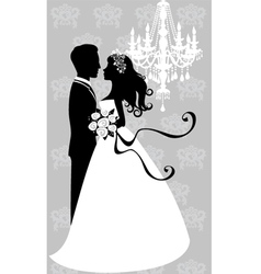 Bride and groom embracing vector image vector image