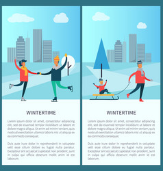 Wintertime skaters and family vector