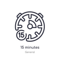 15 minutes outline icon isolated line from vector