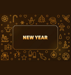 2019 new year golden horizontal outline vector