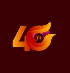 40 th anniversary celebrations orange template vector