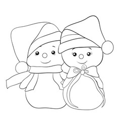 a coloring bookpage a cute cartoon pair of vector image