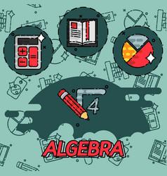 algebra flat concept icons vector image