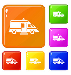 ambulance icons set color vector image