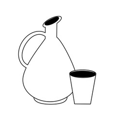 Antique wine jar with cup in black and white vector
