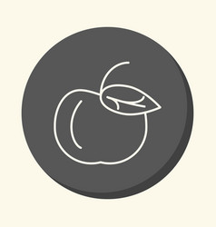 Apple with a handle and a leaf a circular vector