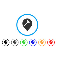 Auction hammer marker rounded icon vector