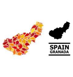 Autumn leaves - mosaic map granada province vector